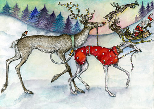 Walking the Red Nosed Reindeer Christmas Cards - A6