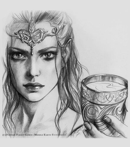 "SOLD Original Sketch ""Galadriel"" Lord of the Rings"